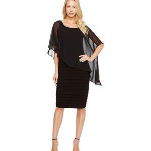 Adrianna Papell chiffon drape overlay dress